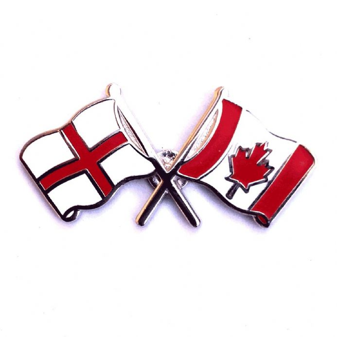 England Flag and Canada Flag Crossed Lapel Badge